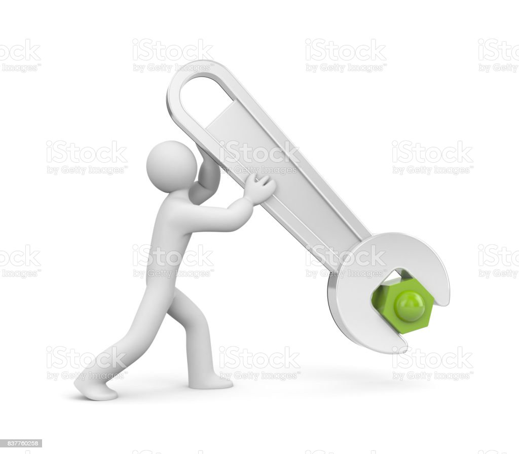 3d man with metal spanner twists or untwists the nut. People at work. Isolated on white. 3d illustration stock photo