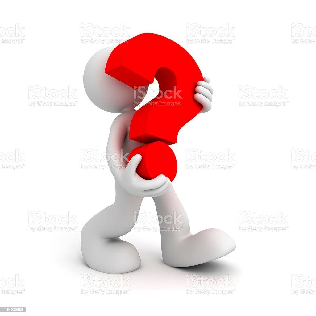 3d man with question mark royalty-free stock photo