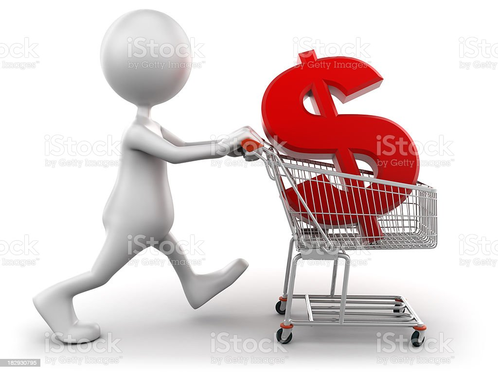 3d Man with shopping cart containing dollar sign, isolated/clipping path royalty-free stock photo