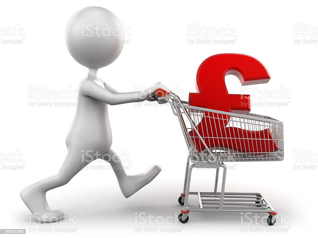 3d Man with shopping cart containing pound sign, isolated/clipping path royalty-free stock photo