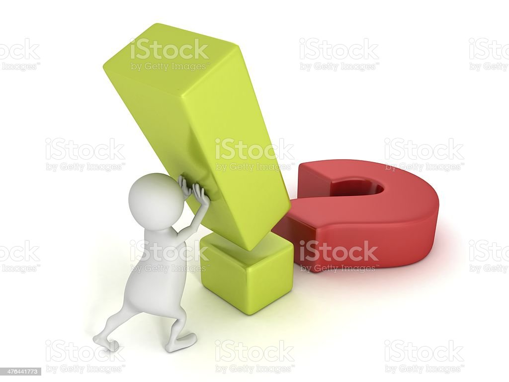 3d man with solution question and exclamation marks royalty-free stock photo