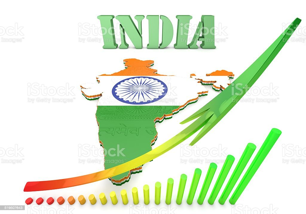 3d Map illustration of India with flag and  coat of arms stock photo
