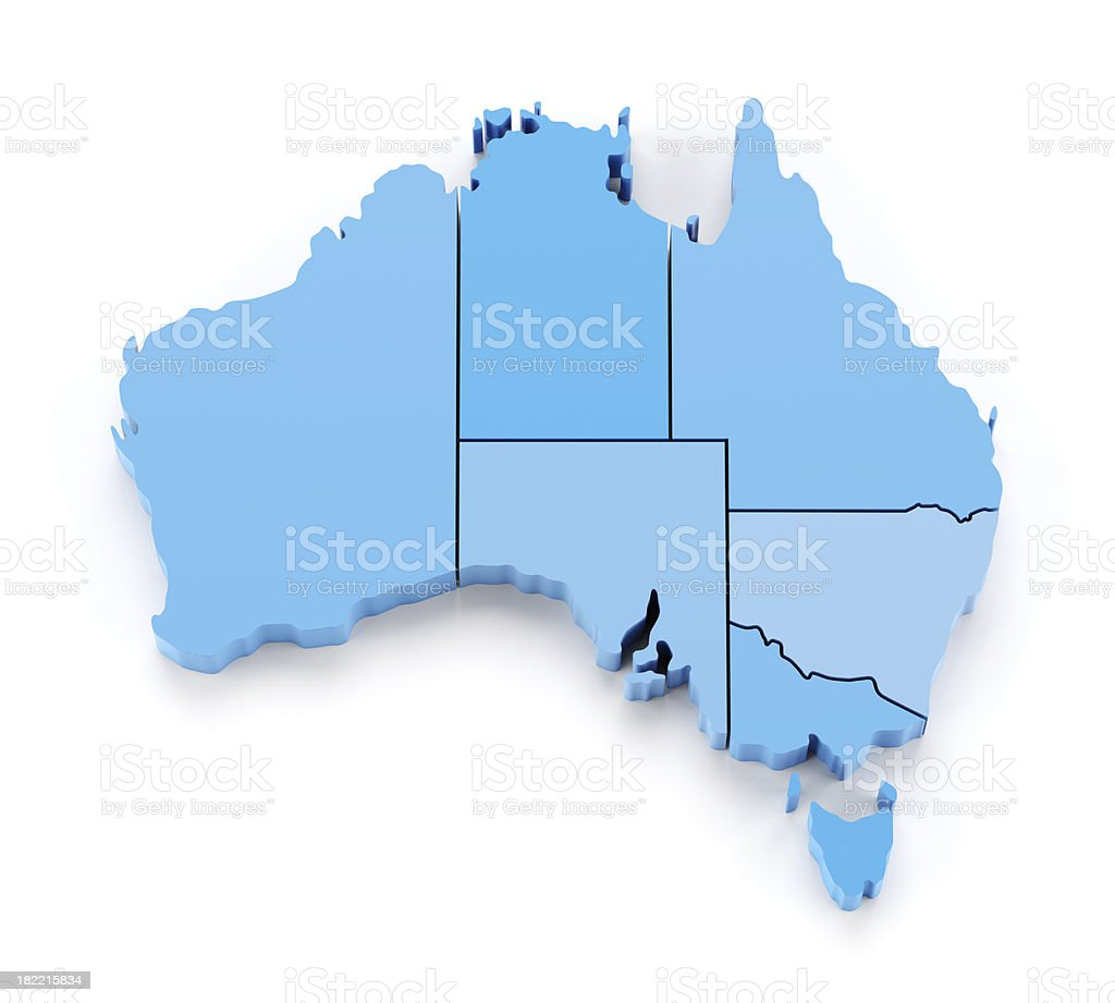 3d map of Australia with states in separate pieces stock photo