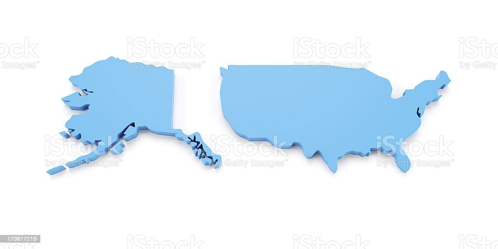 3d map of United States isolated on white stock photo