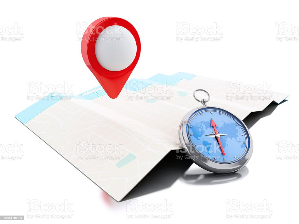 3d Map with blue pointer and a compass. stock photo