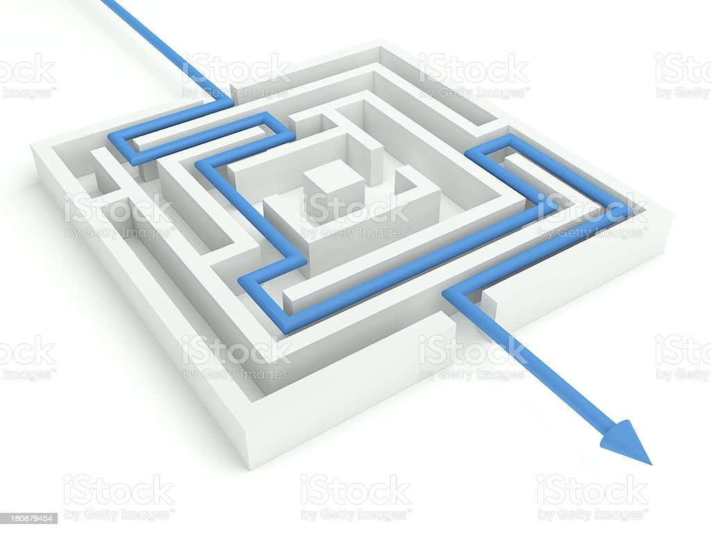 3d Maze Solved, Business Concept royalty-free stock photo
