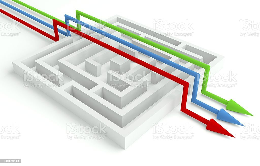 3d Maze Solved by Workgroup, Smart Solution royalty-free stock photo