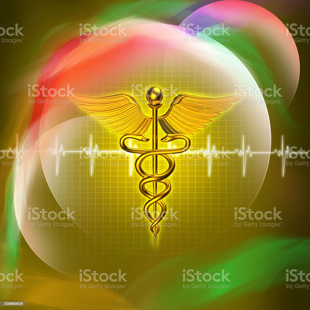 3d medical logo on a colour background stock photo