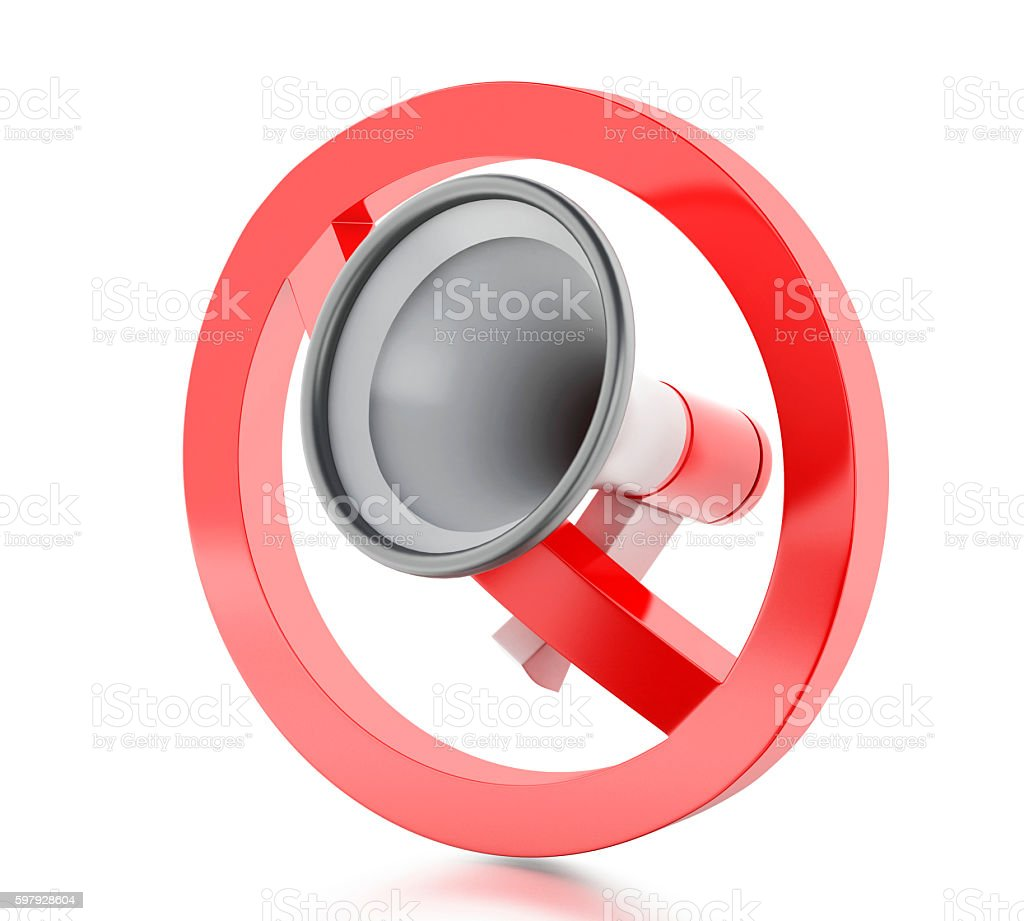 3d Megaphone surrounded by a forbidden sign. stock photo