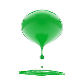 3d melting green ball isolated