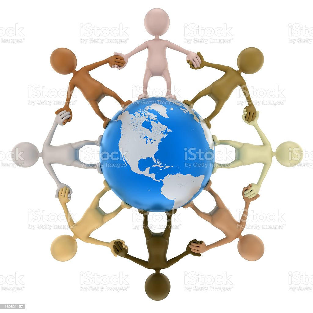 3d Men holding hands around Earth, isolated with clipping path stock photo