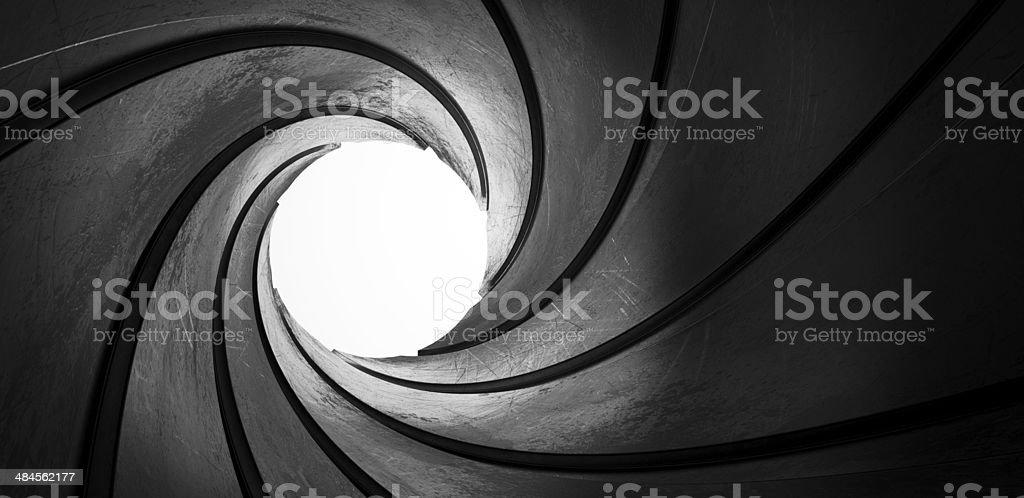 3d metal inside gun barrel twisted tube focus stock photo