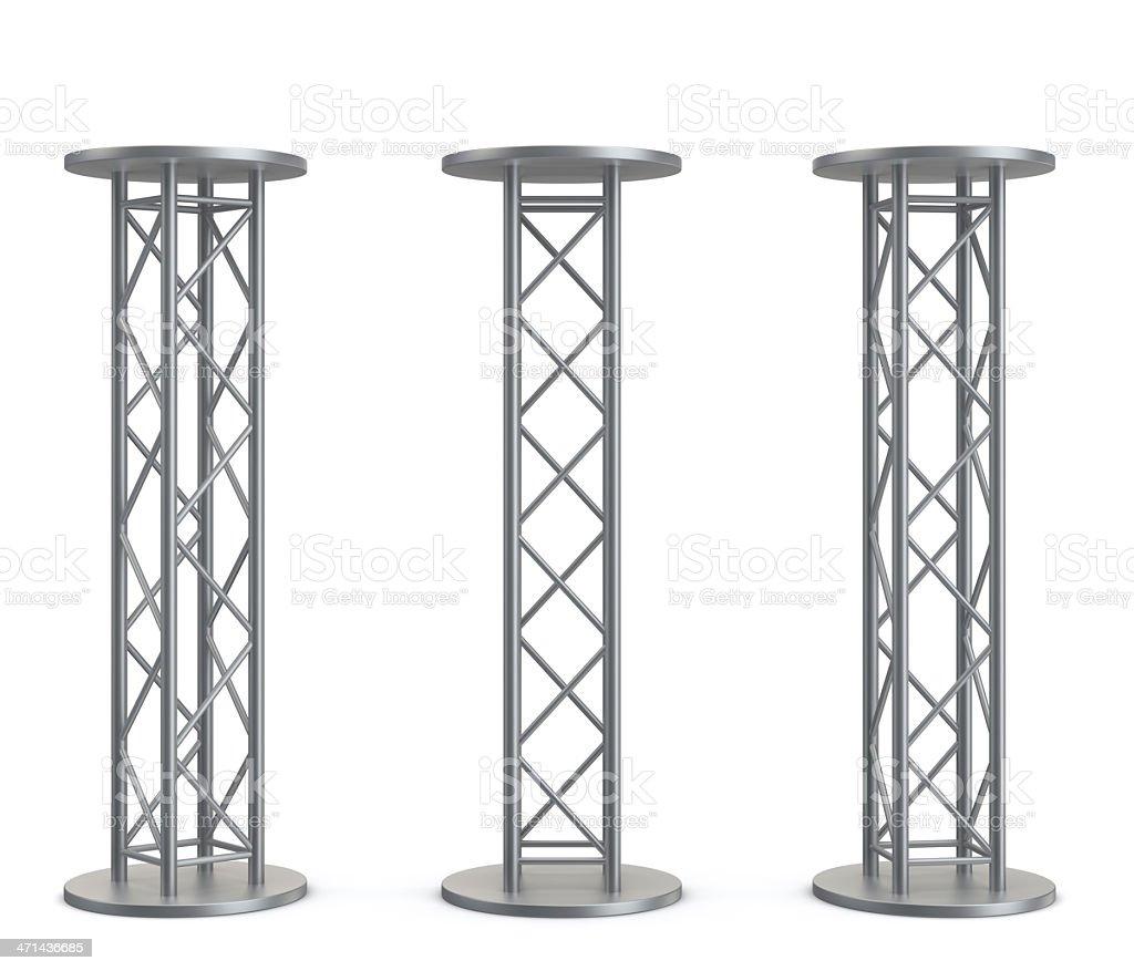 3d metal podiums stock photo