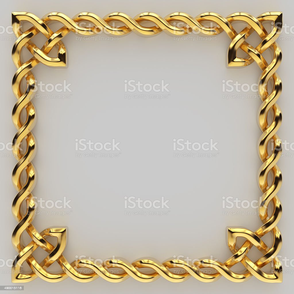 3d metallic gold Celtic sign, design element isolated stock photo