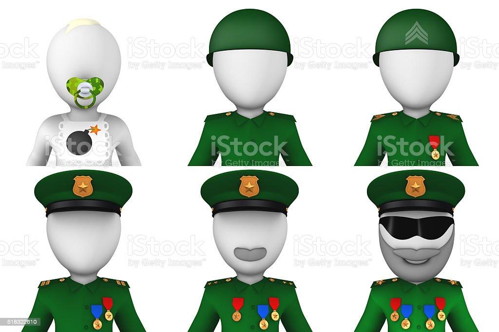 3d military avatars stock photo