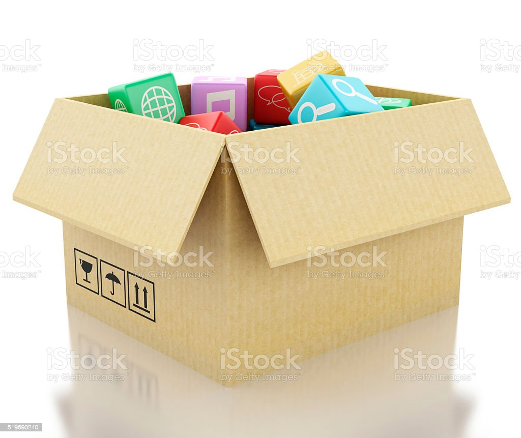 3d Mobile applications software in cardboard box. stock photo