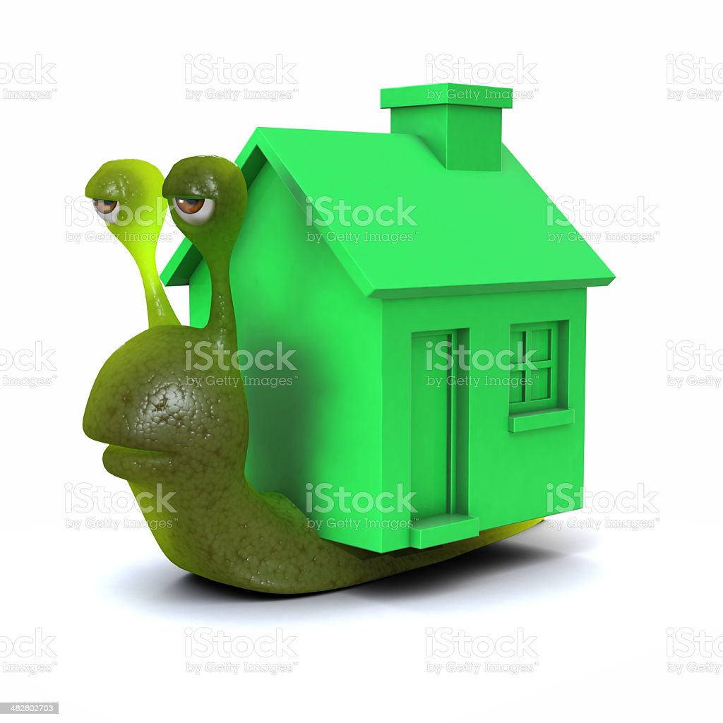 3d Mobile home snail stock photo