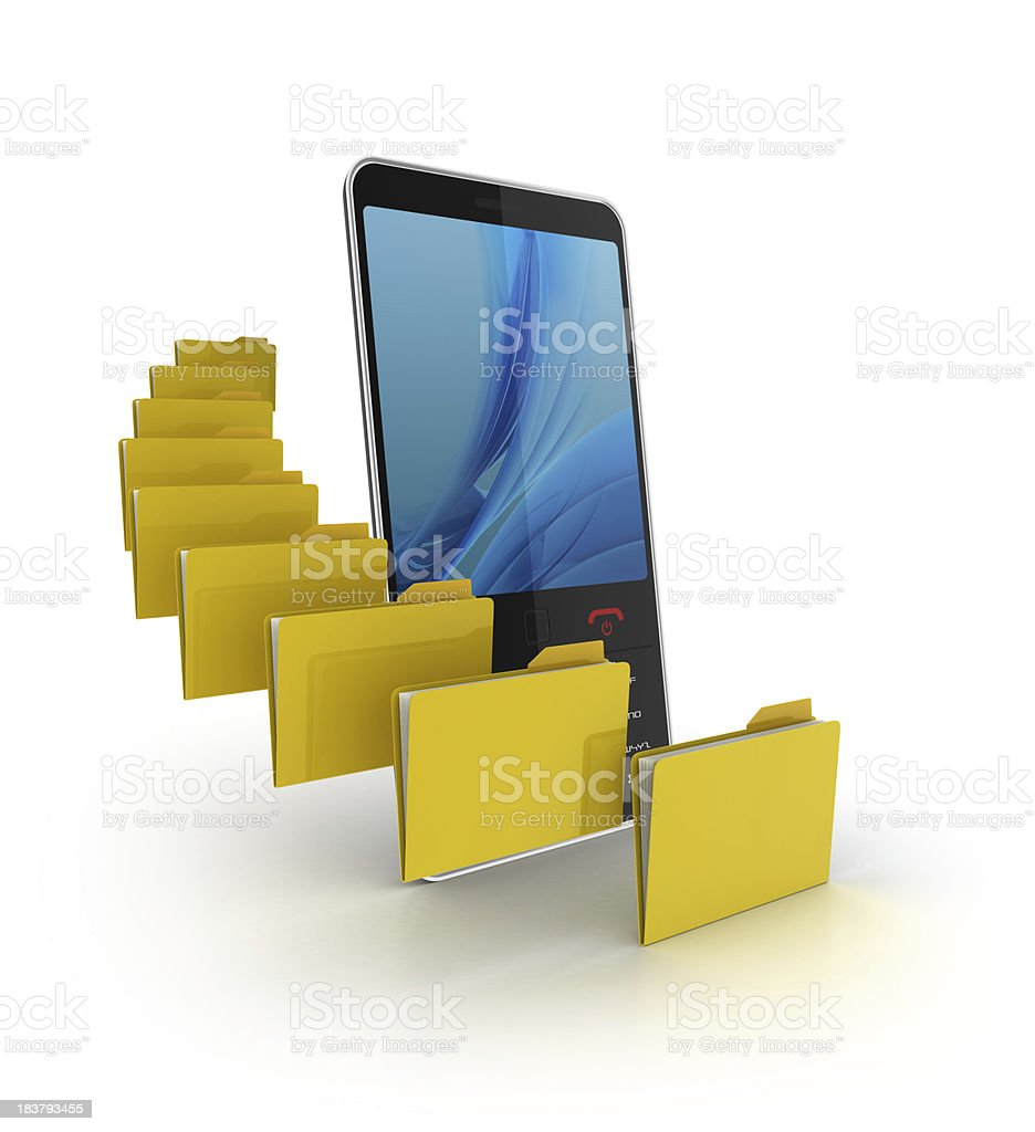 3d mobile phone with folders royalty-free stock photo