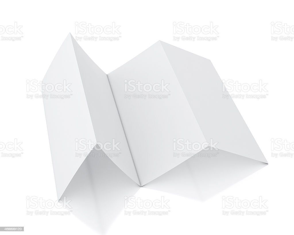 3d model of blank leaflet standing, isolated on white background stock photo