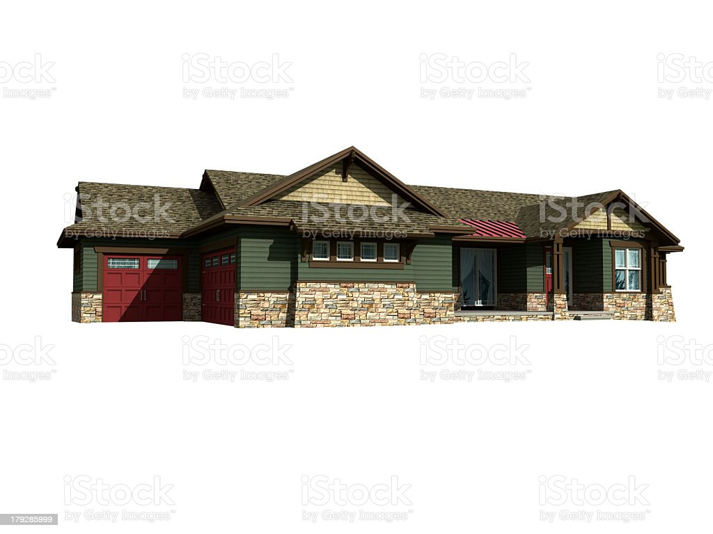 3d model of ranch house royalty-free stock photo