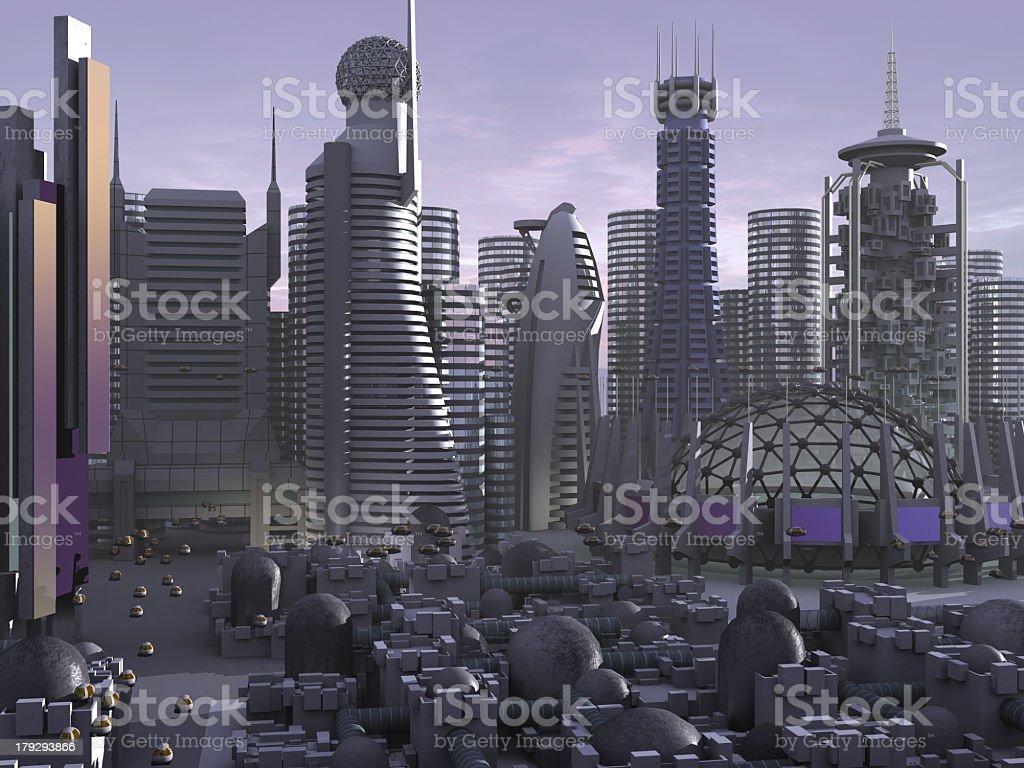 3d Model of Sci-fi city royalty-free stock photo