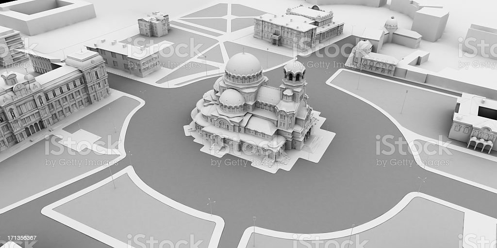 3d model of square with a cathedral from  aerial view stock photo