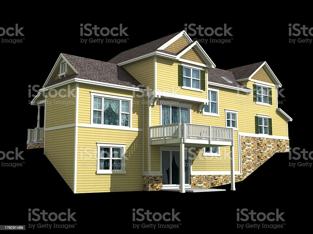 3d model of two level house isolated on black royalty-free stock photo