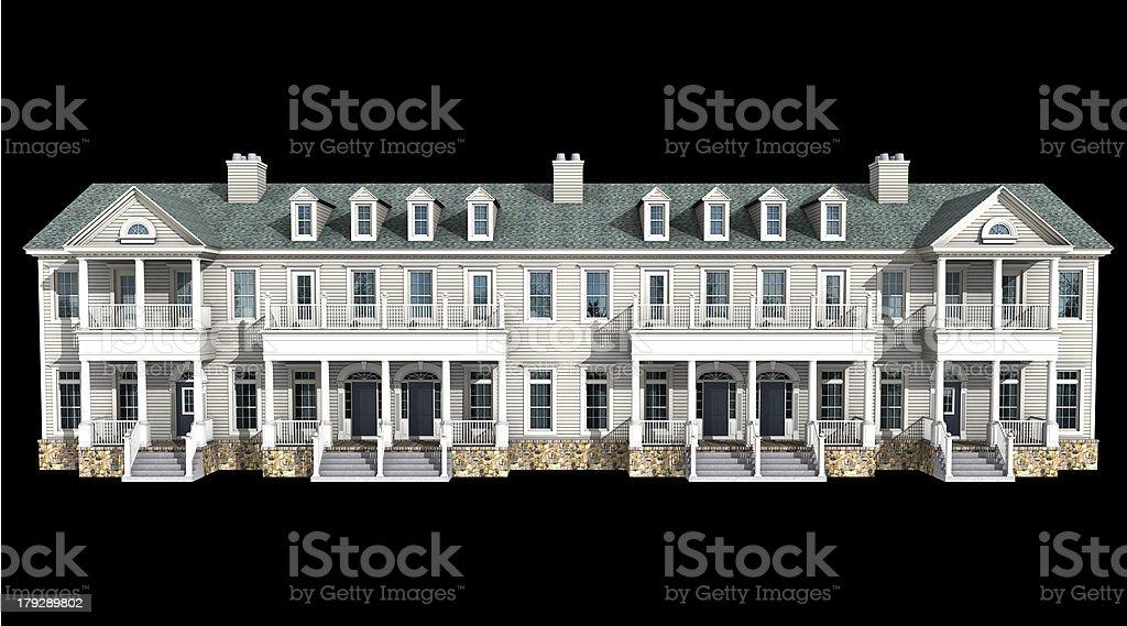 3d model of white siding condominium royalty-free stock photo