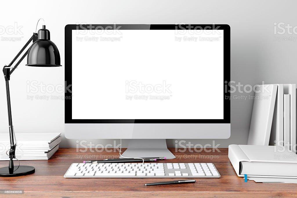 3d modern computer workplace stock photo - Modern Computer Desk