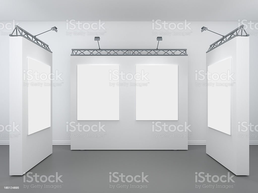 3d modern exhibition space stock photo
