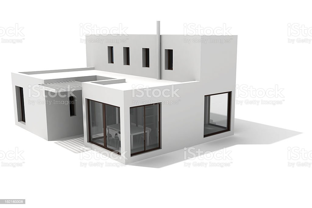 3d modern house, on white background royalty-free stock photo