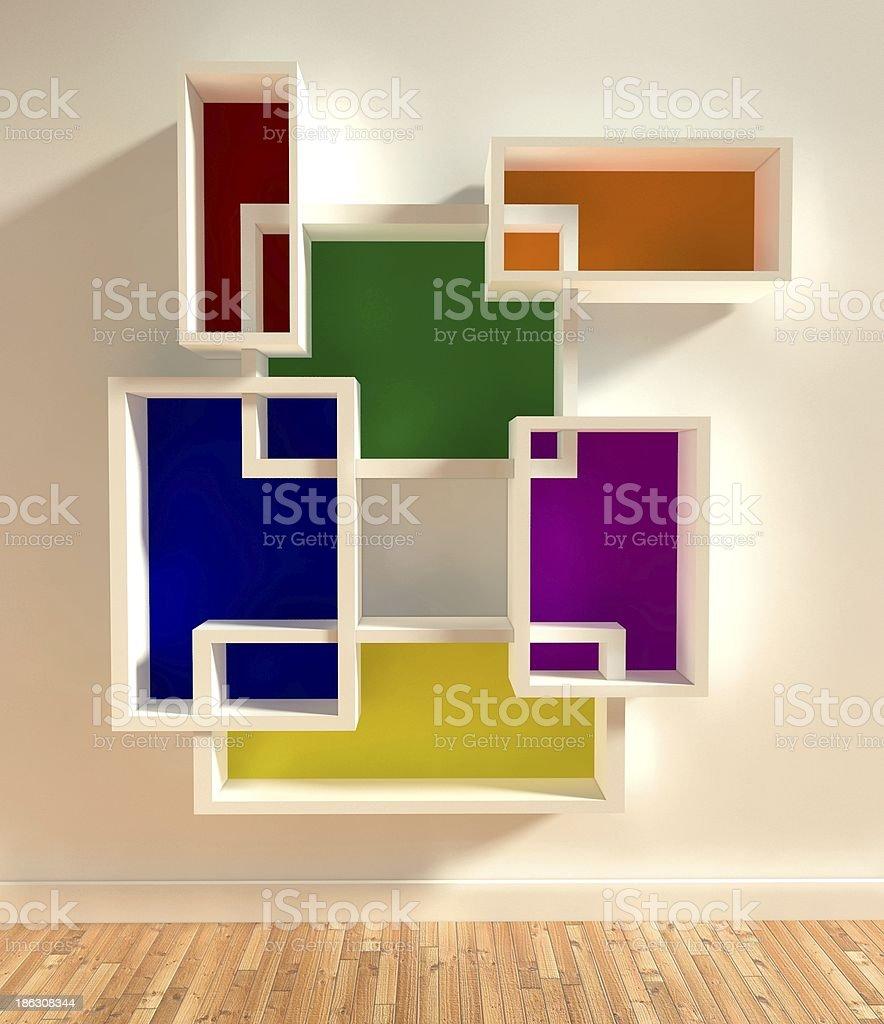 3d modern interior, empty shelf royalty-free stock photo