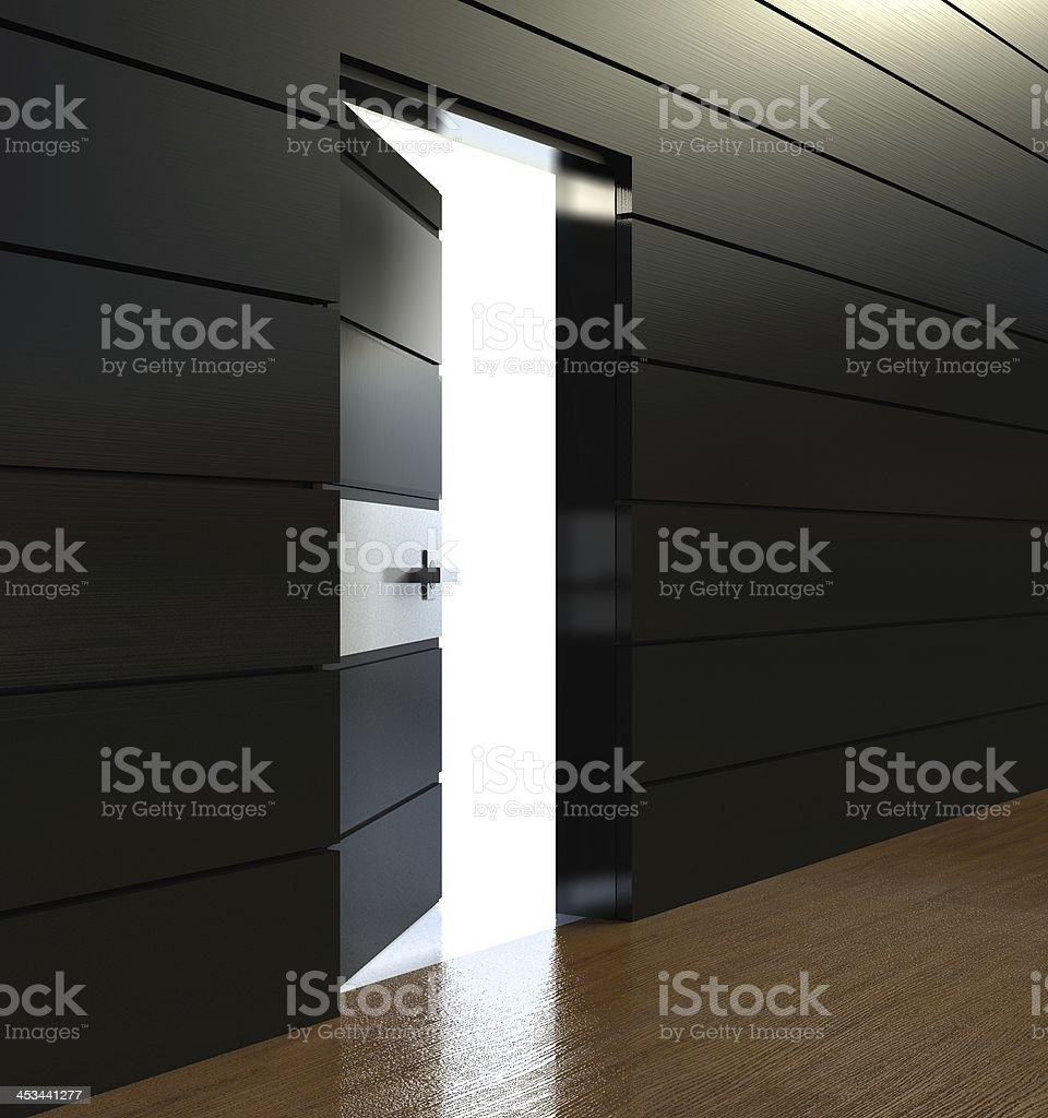3d modern interior, wall with open door royalty-free stock photo