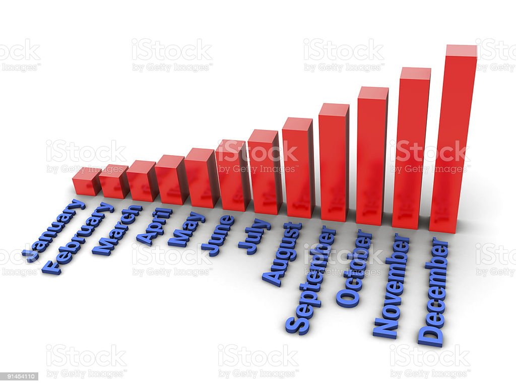 3d month graph royalty-free stock photo