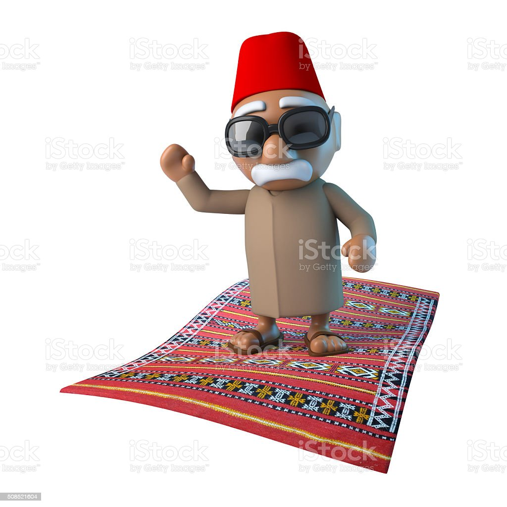 3d Moroccan on flying carpet stock photo