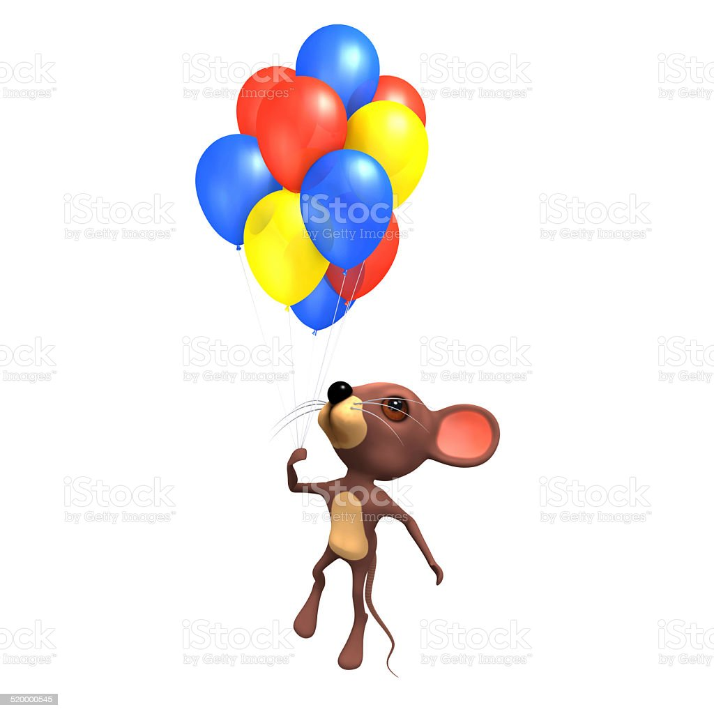 3d Mouse flying with colored balloons stock photo