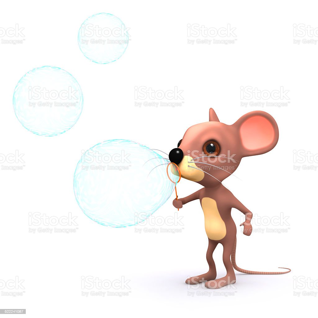 3d Mouse plays with bubbles stock photo