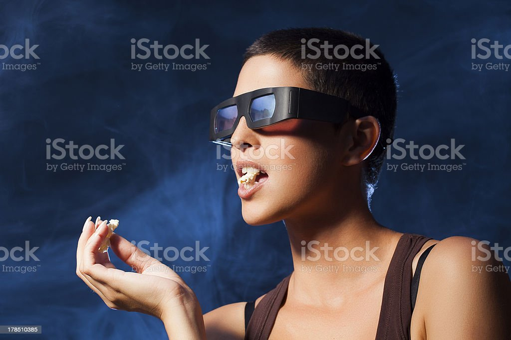 3d Movie With Special Effects Blue Fog- Woman At Cinema royalty-free stock photo