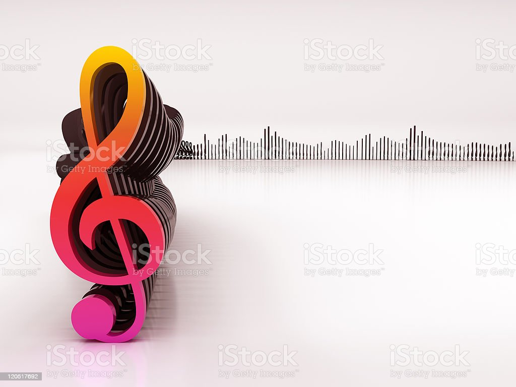 3d musical notes and equalizer royalty-free stock photo