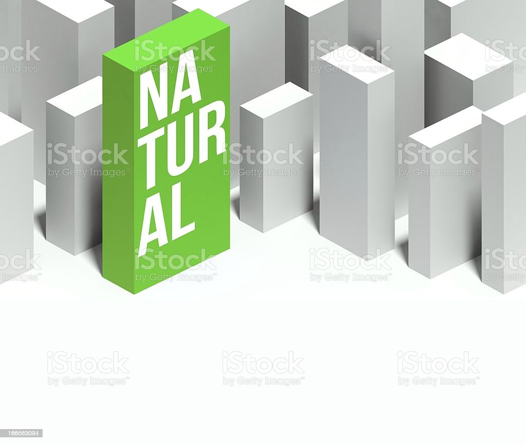 3d natural conceptual of city with distinctive skyscraper royalty-free stock photo