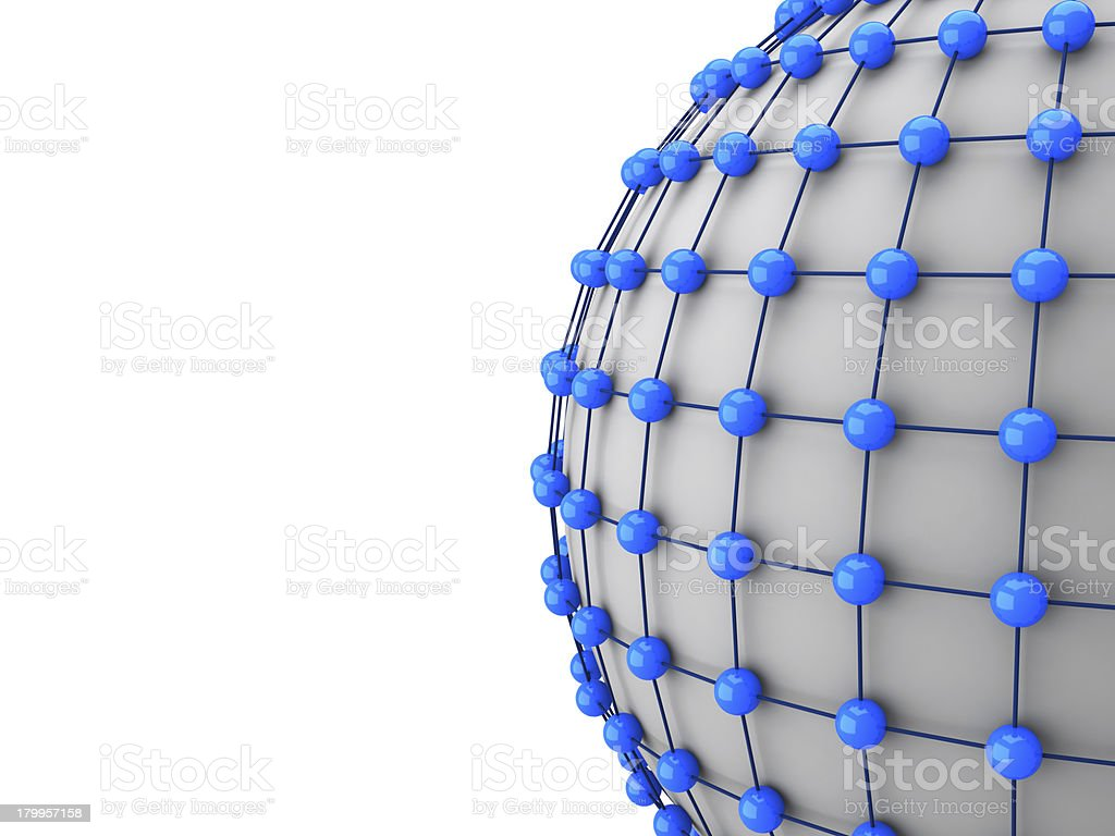 3d network concept, balls connection with each other royalty-free stock photo