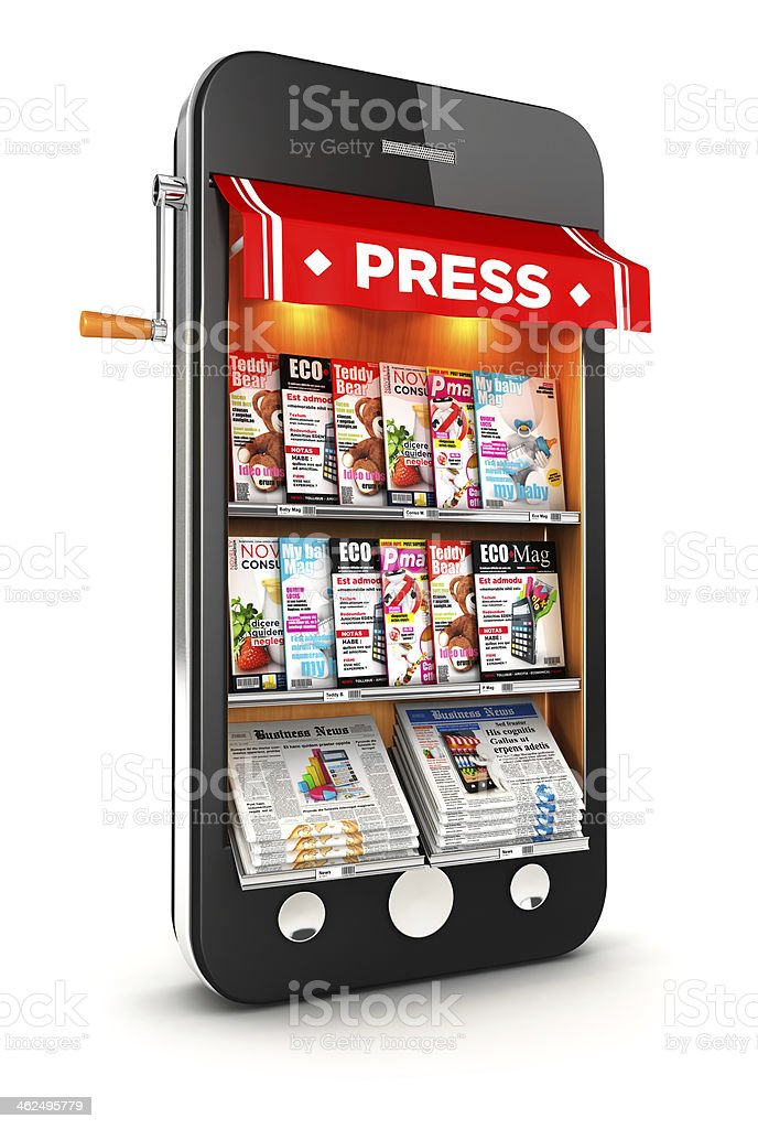 3d newsstand smartphone stock photo