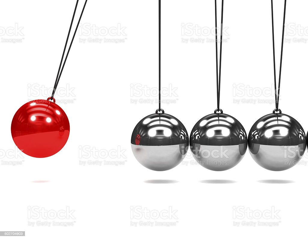 3d Newtons cradle in motion stock photo