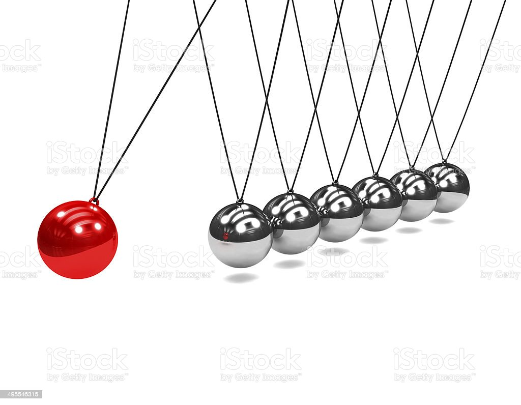 3d Newtons cradle with red ball stock photo