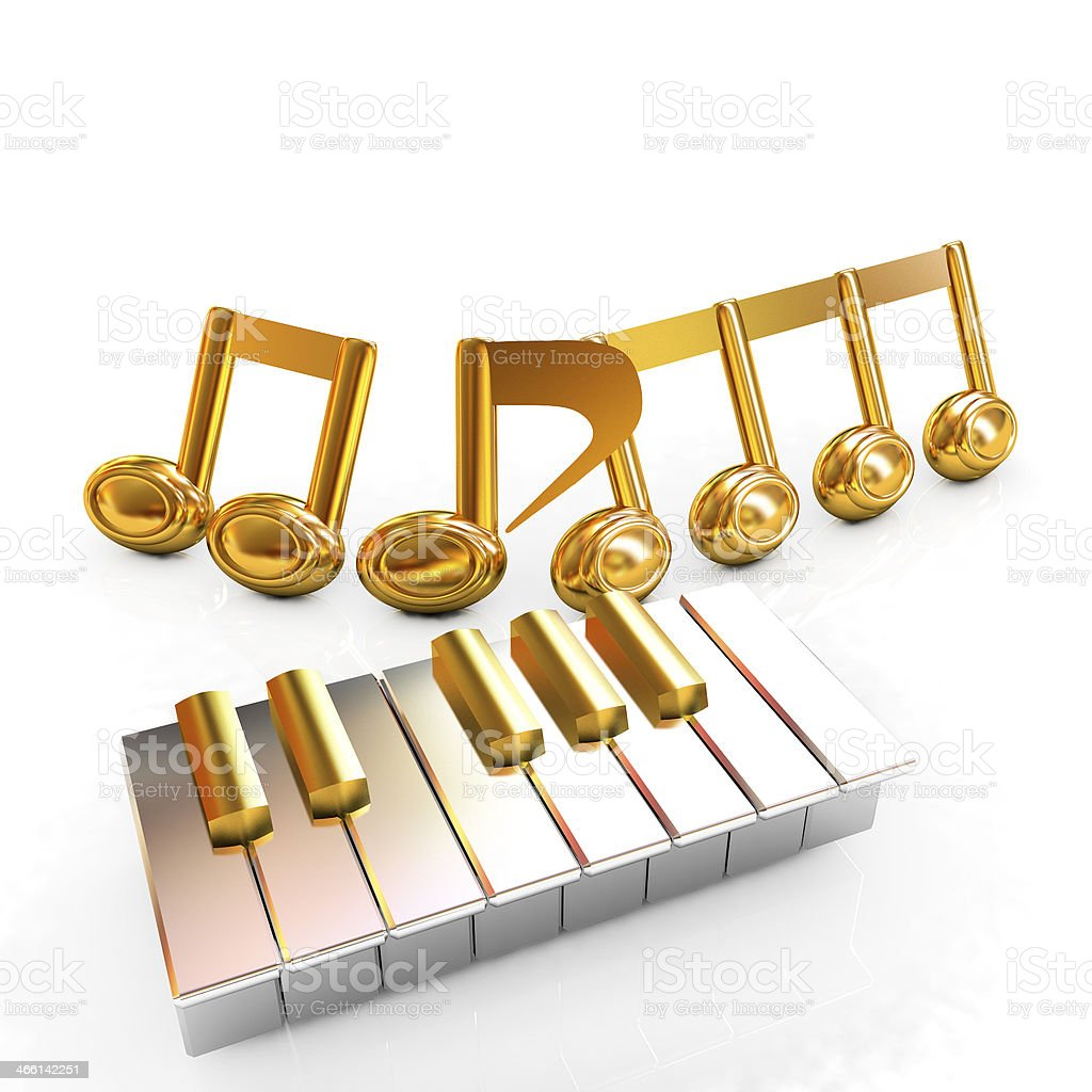 3d note on a piano stock photo