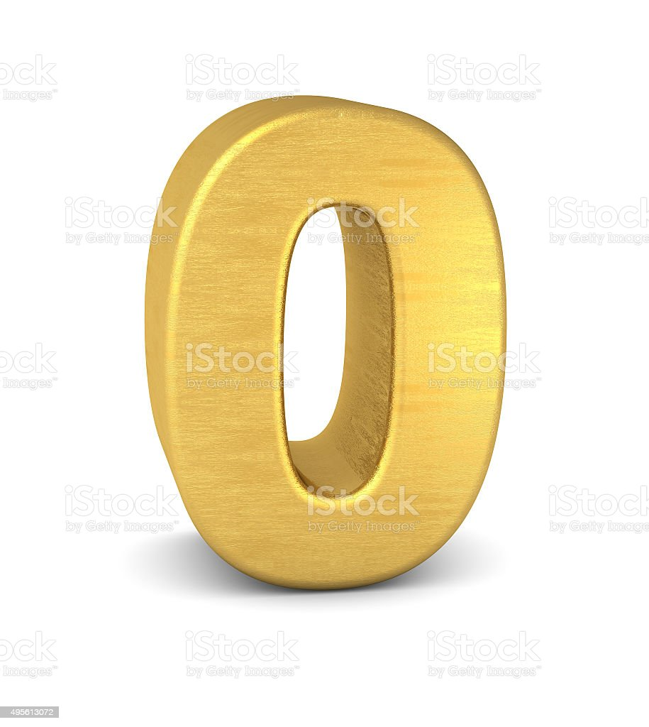 3d number 0 gold stock photo