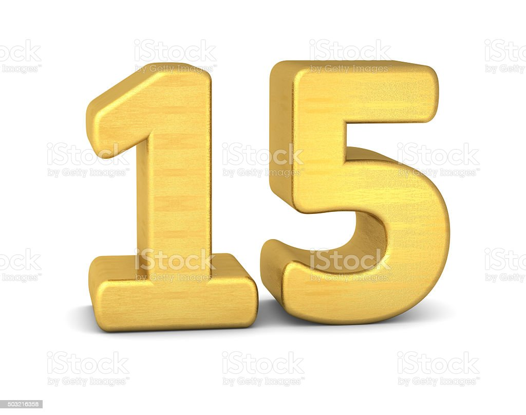 3d number 15 gold stock photo