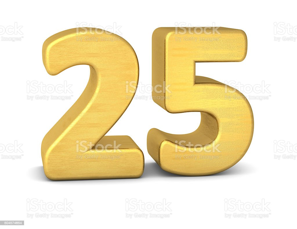 3d number 25 gold stock photo