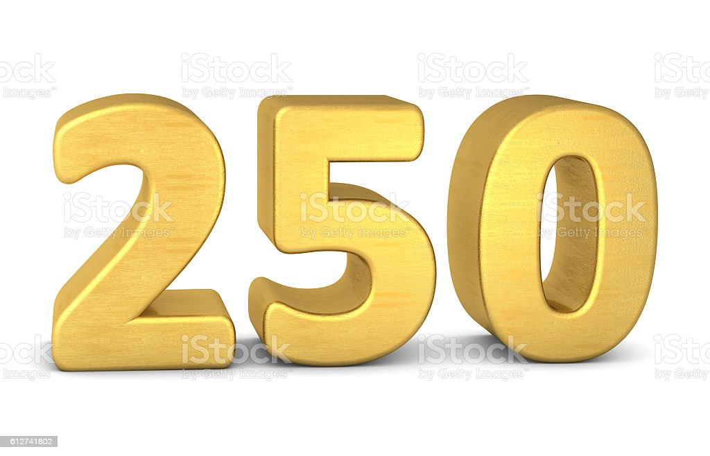 3d number 250 gold stock photo