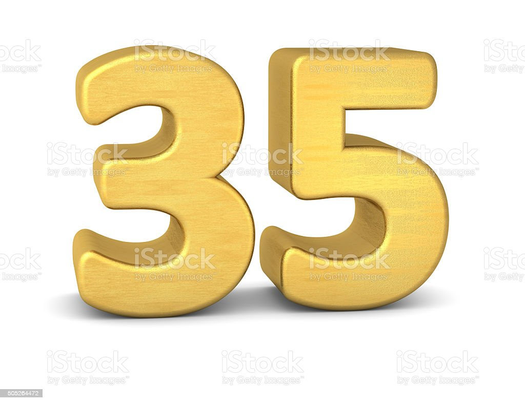 3d number 35 gold stock photo